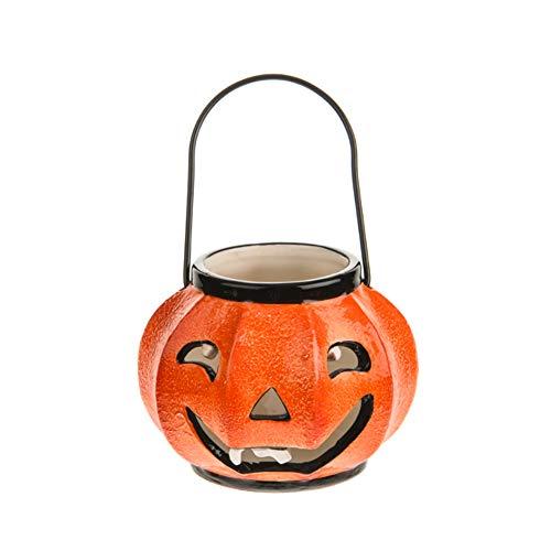 Hallowe'en Pumpkin Tealight Holder - Bright Orange Ceramic Jack O' Lantern Candle Holder - 12cm]()