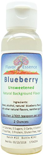 BLUEBERRY Flavoring by Flavor Essence (Unsweetened, Natural Background Flavoring) 2 Oz.| For Beverages: coffee/tea, shakes, smoothies, bar drinks. For Foods: baking, doughs, batters, frostings, yogurt