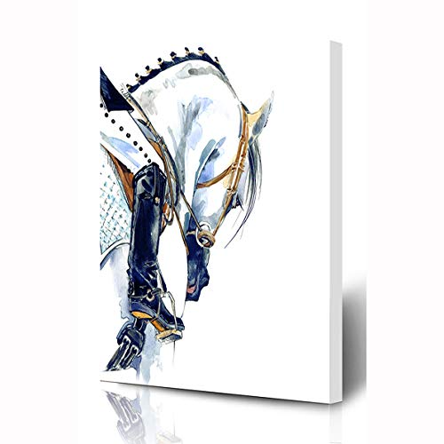 Ahawoso Canvas Prints Wall Art 8x10 Inches Dressage Equestrian Sport Horse Rider Girl Watercolor Riding Equitation Action Wooden Frame Printing Home Living Room Office - Girl Equestrian 10