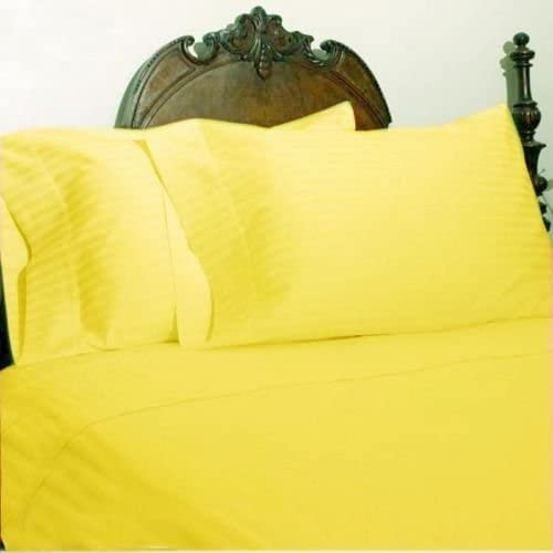 Yellow Striped Queen 4 Piece Sheet Set 1000 Thread Count 100/% Egyptian Cotton