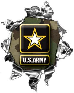 "Mini Ripped Torn Metal Decal US Army Green Camo - 4"" h - REFLECITVE"