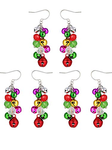 Gejoy 3 Pairs Christmas Bell Earrings Dangle Colorful Holiday Bells Earring for Christmas Jewelry Women Girls Gifts