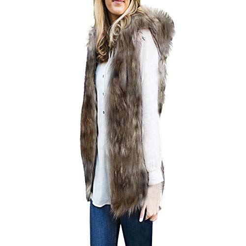 Clearance Sale! ANJUNIE Faux Fur Vest, Womens Hooded Soft Sleeveless Gilet Gradient Waistcoat Jacket(Brown,XL)