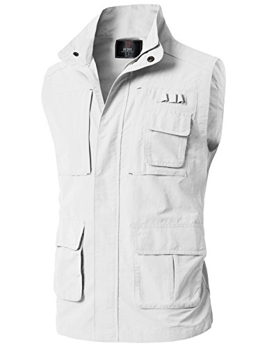 H2H Men's Outdoor Fleece Vest Zipper Pockets OFFWHITE US 3XL/Asia 4XL (KMOV0152) (Best Price Mens Vests)