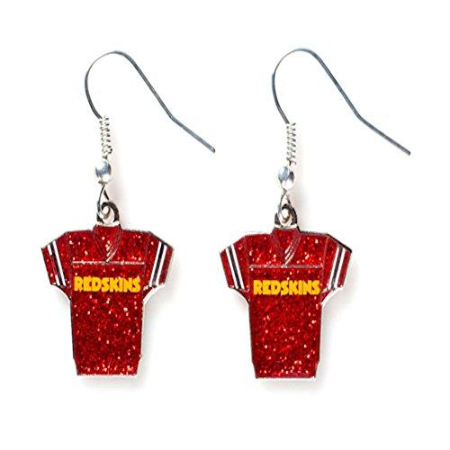 aminco Sports Team Washington Redskins Jersey Dangle Glitter Earring (Glitter Womens Jersey)