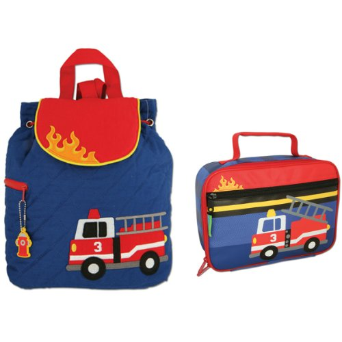 Stephen Joseph Boys Quilted Fire Truck Backpack and Lunch Box with Activity ()