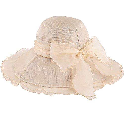 ZXQZ Chapeau pliable protection contre le soleil paille chapeau femme été plage coupe-vent chapeau protection contre les UV chapeau Chapeau de soleil (Couleur : Beige)