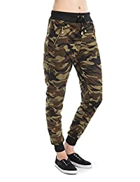 Woman Camouflage Zipper detail pants Army Waistband Jogger Pants