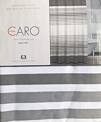 Grey Tiana3 Caro Fabric Shower Curtain Horizontal Stripes in Shades of Gray on White