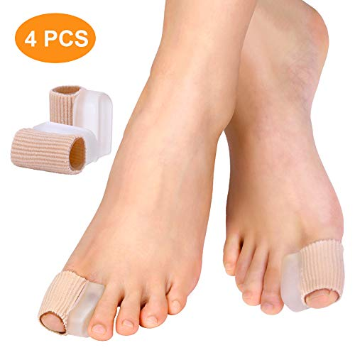 Toe Tube Sleeve with Gel Spacers for Hallux Valgus Toe Straightener, Hammer Toe Separators for Men and Women, Effective Relief Pain for Overlap Toes and Hammer Toe (2 Pairs)
