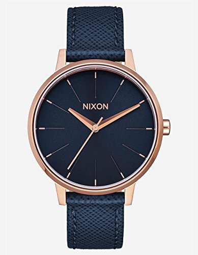 Nixon Women's Kensington Leather Watch Navy/ Rose Gold