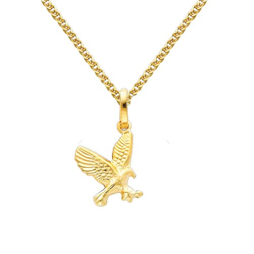 Gold Flying Eagle Charm - Wellingsale 14k Yellow Gold Polished Flying Eagle Charm Pendant with 1.5mm Flat Open wheat Chain Necklace - 22