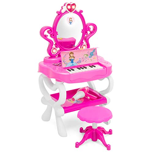 Best Choice Products 2-in-1 Kids Princess Beauty Makeup Vanity Mirror and Functional 18-Key Piano Keyboard Combo w/ Toy Hairdryer, Stool, 16 Pretend Jewelry Fashion Accessories, Lights