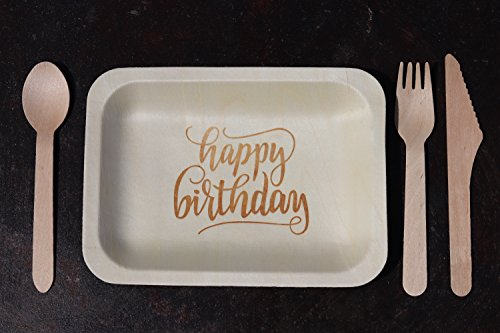 ''Happy Birthday'' StatementWare Disposable Birthday Plates (50-pack)—100% Natural and Eco-Friendly, Elegant Alternative to Happy Birthday Plates, Plastic Party Plates, and Cake Plates (7.5'' x 5.5'') by Wood & Wonder (Image #2)