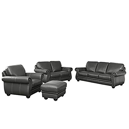 Abbyson Living Austin 4 Piece Leather Sofa Set In Gray