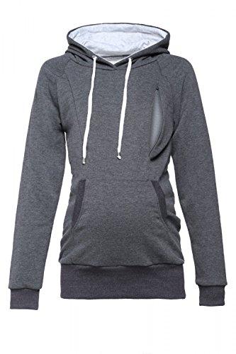 - Happy Mama. Womens Maternity Hoodie Nursing Sweatshirt Kangaroo Pocket. 324p (Graphite Melange, US 4, S)