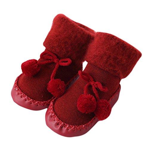 Sunyoyo Baby Kids Cotton Socks Toddler Anti-Slip Socks Warm Stockings Slipper Shoes Boots Floor Socks (6~12 Months, Red)