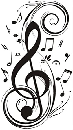 Wallies MUSICAL NOTES wall stickers 25 prepasted decals teen music purple blue