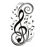 """23.6\"""" X 47.2\"""" Olivia Music Notes Wall Stickers Decals DIY Vinyl Removable Large Graphic Clef Wall Mural Decor Art for Teen Boys Girls Kids Children Bedroom Living Room Baby Nursery Home Decorations"""