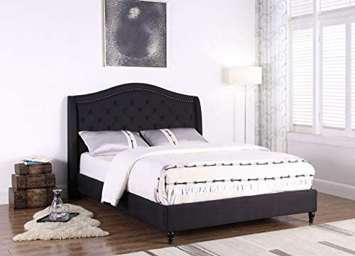 Best Master Furniture Sophie Upholstered Tufted Platform Bed, Black Queen