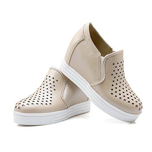VogueZone009 Damen Hoher Absatz Weiches Material Rein Ziehen auf Rund Zehe Pumps Schuhe Cremefarben