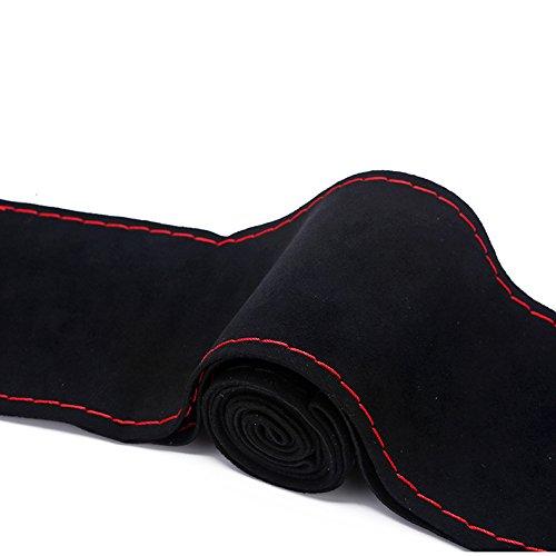 Ligne Noir XuanMax Housse de Volant Voiture Su/ède /À coudre /à la main soi-m/ême Universelle Perfor/é 38cm DIY Couvre Volant Voiture Nubuck Vehicule Couvertures de Volant