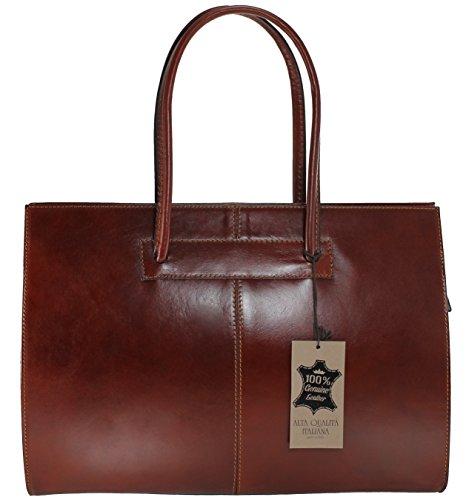 MC poignées en de cuir Sac porte Dark 40x30x12cm avec professionnels femmes Italie 100 Fabriqué véritable pour Brown documents dAr6qI