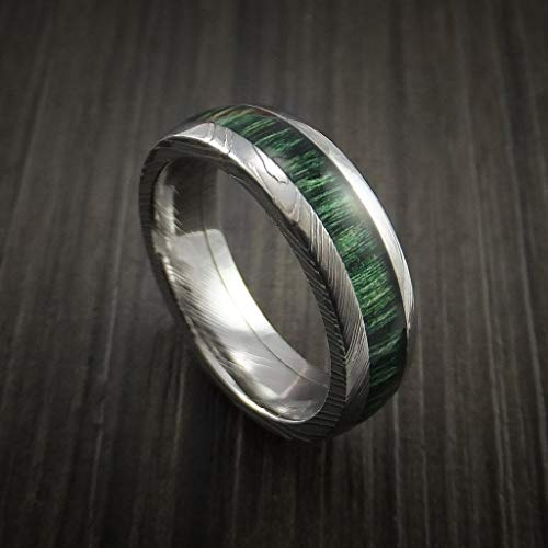 (wangxiyan 8mm Men's Titanium with Damascus Pattern Engraved Ring Inlaid with French Green Hard Wood(Green,12.5))