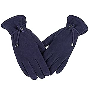 OZERO Smartphone Gloves, Deerskin Leather Fashion Winter Snow Ski Glove - Sensitive Touch Screen Fingertips and Silky Velour Fleece Lining - Warm Hand in Cold Weather for Ladies/Girls (Purple,X-Large)
