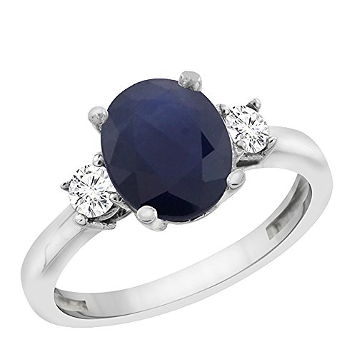 al Blue Sapphire Engagement Ring Oval 10x8 mm Diamond Sides, size 8 (10x8mm Oval Cut Sapphire)
