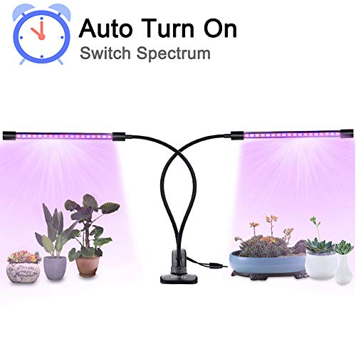 18W Plant Grow Light with Auto Turn On Function, slitinto Dual Head 36 LED 5 Dimmable Levels Grow Lamp Bulbs, 3/9/12H Timer, Spectrum Switching, Adjustable Gooseneck for Indoor Plants [New Converter]