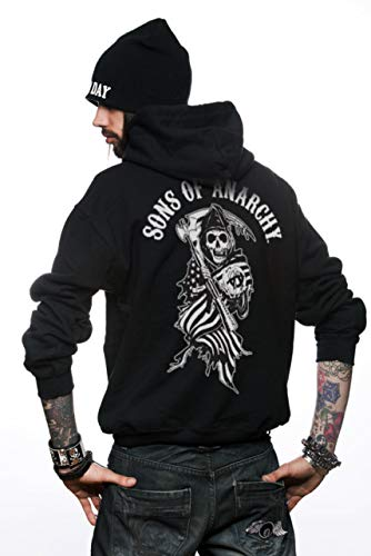 Officially Licensed Merchandise SOA American Reaper Zipped Hoodie (Black), XX-Large