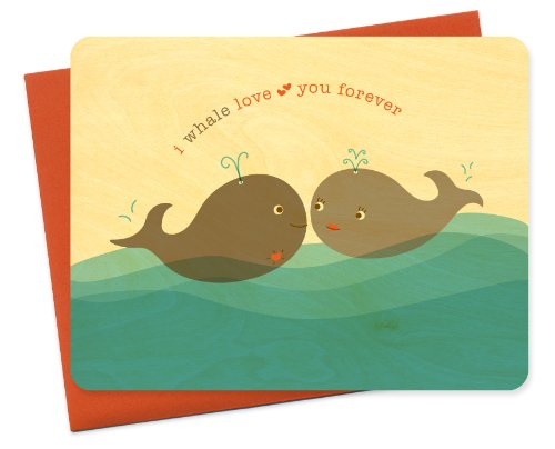 Night Owl Paper Goods Whale Love You Wood Card