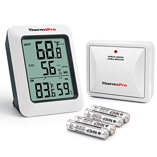 ThermoPro TP60S Digital Hygrometer Indoor Outdoor Thermometer Wireless Temperature and Humidity Gauge Monitor Room Thermometer with 200ft/60m Range Humidity Meter