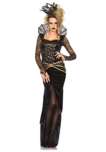 Leg Avenue Women's 2 Piece Deluxe Evil Queen Costume, Black/Gold, Small (The Evil Queen Costume)