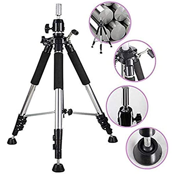 Anself Mini Wig Stand Tripod,Adjustable Hairdresser Table Training Head Stand