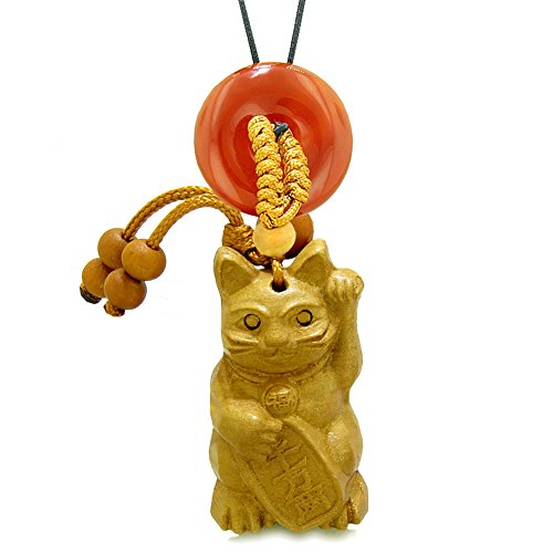 Fortune Cat Lucky Donut - Maneki Neko Fortune Cat Car Charm or Home Decor Carnelian Lucky Coin Donut Protection Powers Amulet