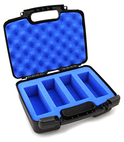 CASEMATIX Toy Box Case Fits up to 4 Untamed T-Rex or Untamed Raptor Fingerlings Untamed Dinosaur in Custom Foam Compartments - Includes CASE ONLY (Black-Blue)