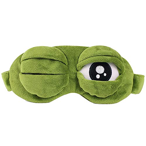 Cute Sleep Eye Mask Cover,Crytech Super Soft 3D Cartoon Sad Frog Sleeping Night Rest Sleep Blindfold Block Out Light Eye Shade Cover For Travel Relax Anime Funny Gift Fit Women Girl Boy (With Ice Bag)
