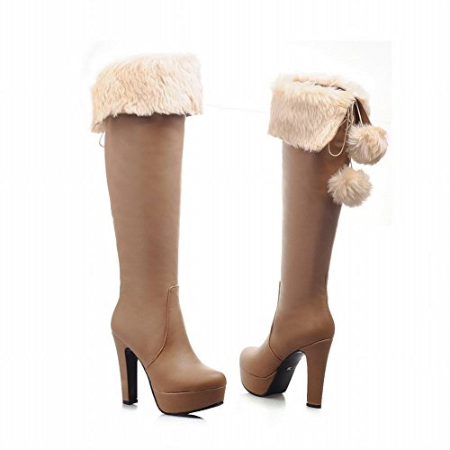 Boots Chic Sweet Cute Cosplay Snow Brown High poms Lolita Zipper Shoes Style Carol Platform Women's Pom Heel YwzZIXq