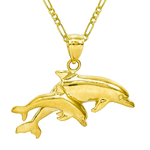 14K Yellow Gold Double Dolphins Pendant Necklace (16 Inches, Figaro Chain) 14k Gold Double Dolphins Pendant