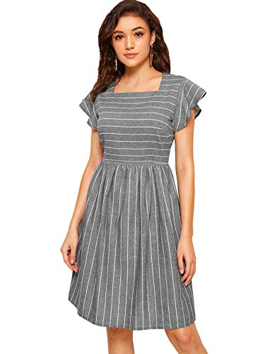 (Milumia Women's Casual Striped Fit & Flare Cap Sleeve Square Neck Midi Dress Grey)