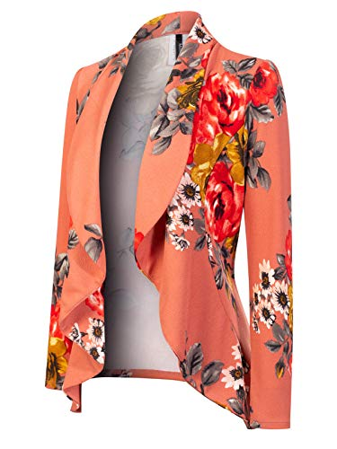 (MixMatchy Women's [Made in USA] Solid Formal Style Open Front Long Sleeves Blazer (S-3X) Dark Coral Flower Print)