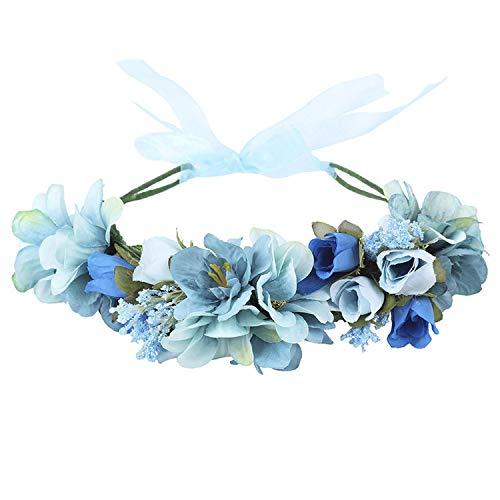 - Boho Bride Flower Crown Wedding Hair Accessories Wreath Girl Floral Headband,Sky Blue