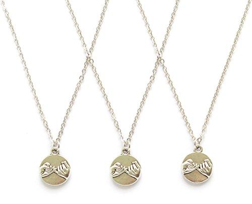 IDLAN 3 Pinky Promise Pinky Swear Best Friends BFF Sisters Necklaces (3 Way Best Friend Jewelry)