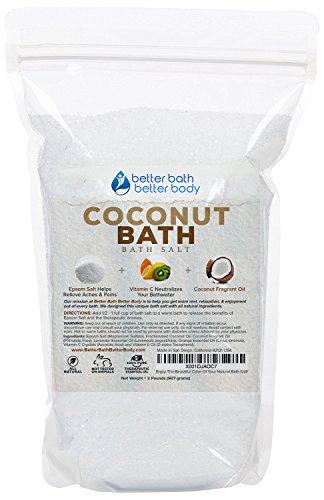 (Coconut Bath Salt 32oz (2-Lbs) - Epsom Salt Bath Soak With Coconut Fragrant Oil Plus Vitamin C Crystals - Enjoy The Sweet Exotic Aromatherapy Of Coconut)