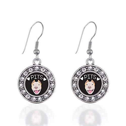 Inspired Silver - Pit Bull Lover Charm Earrings for Women - Silver Circle Charm French Hook Drop Earrings with Cubic Zirconia Jewelry