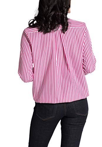 Striped Blouse Long blanco 1863 By Premium Fucsia Sleeve Eterna wYUCHRqx