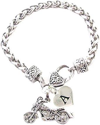 Custom Motorcycle Silver Chain Bracelet Choose Initial Charm