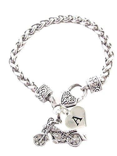 Custom Motorcycle Silver Chain Bracelet Choose Initial Charm Harley - Bracelets Harley